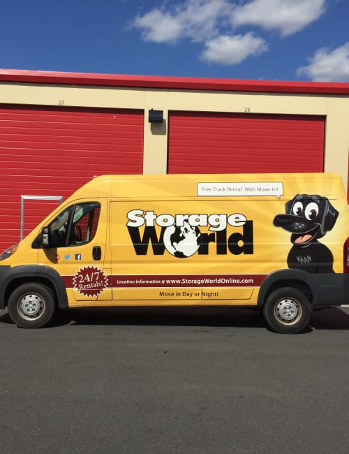 The moving van available to customers at Storage World in Womelsdorf, Pennsylvania