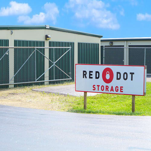 Outdoor storage units at Red Dot Storage in Machesney Park, Illinois