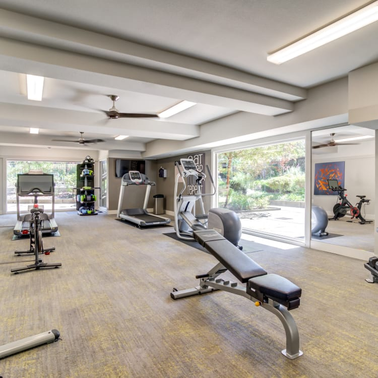 Well-equipped onsite fitness center at Sofi Fremont in Fremont, California