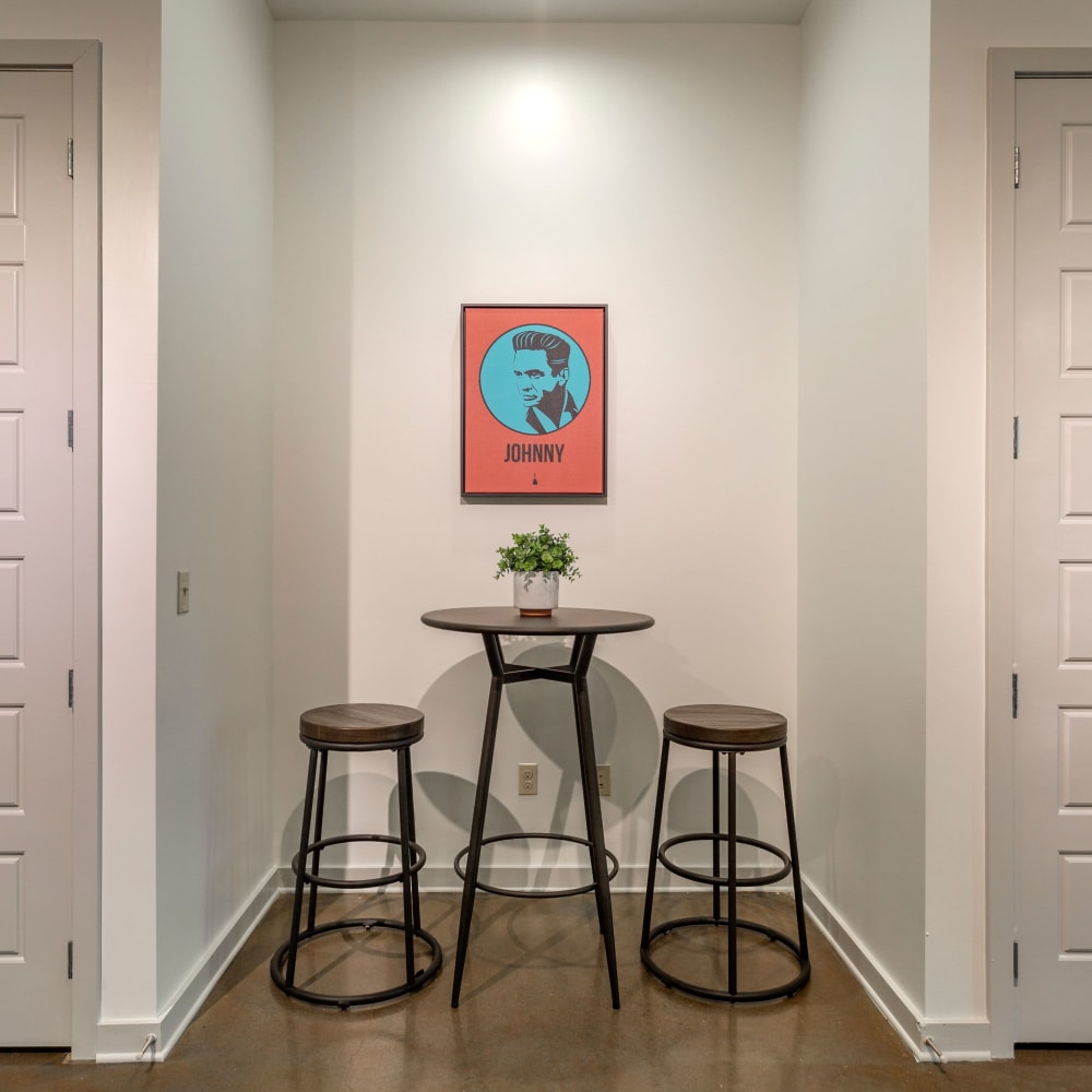 Kitchen nook with table at 12 South Apartments in Nashville, Tennessee