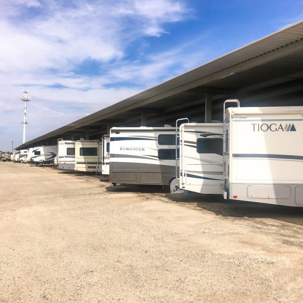 Covered RV, boat, and auto storage at StorQuest Self Storage in Sacramento, California