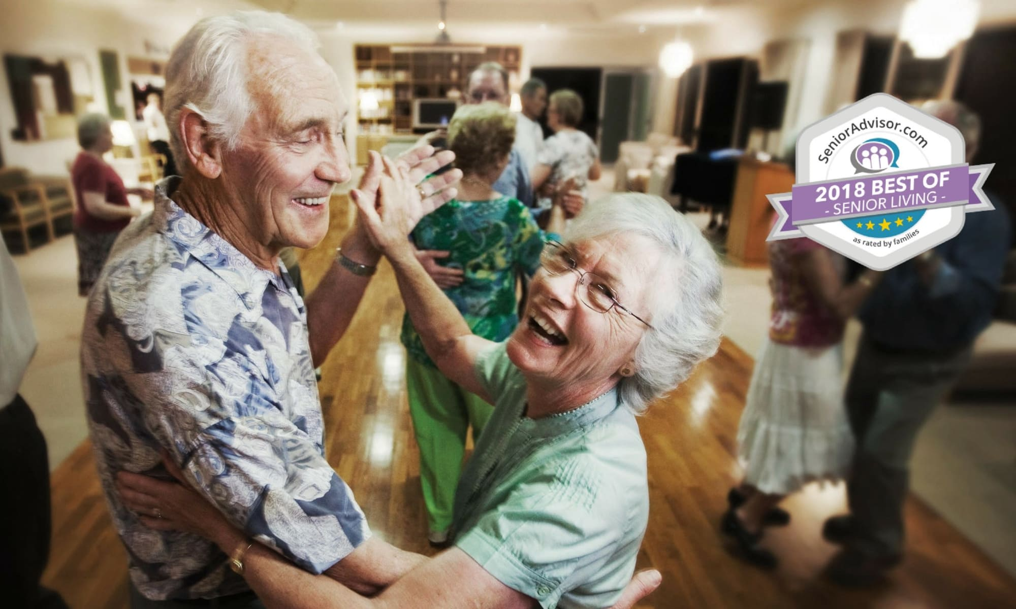 Senior couple dancing at Pacifica Senior Living Forest Trace