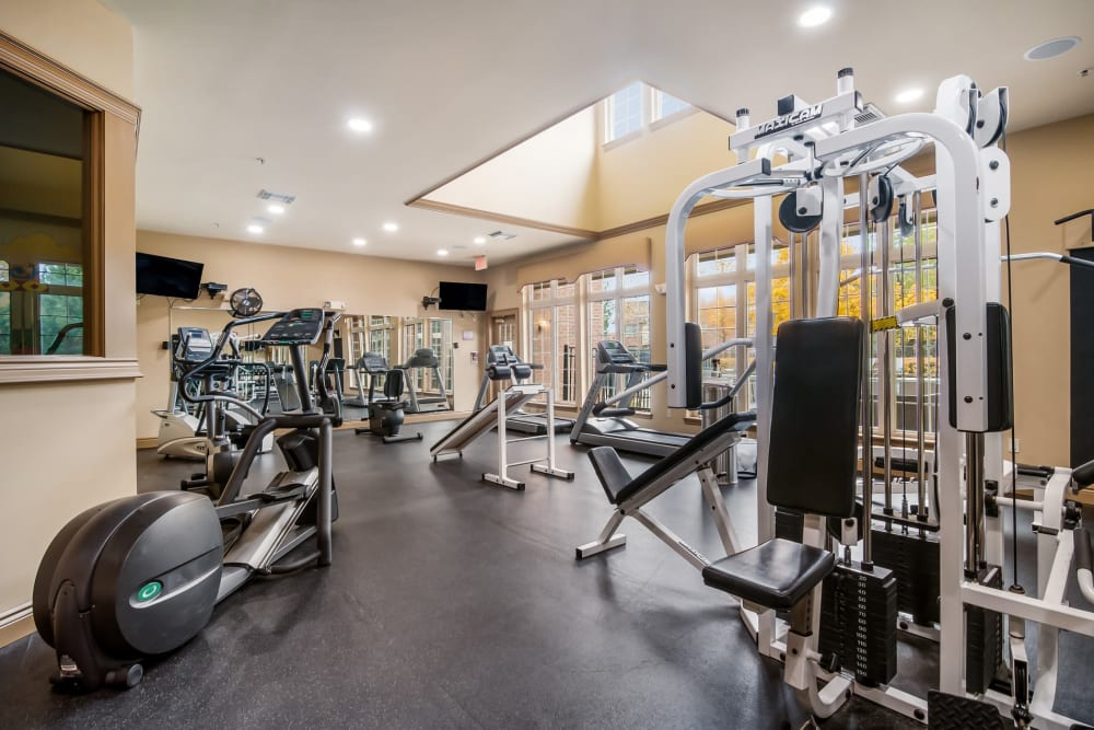 The gym with workout equipment at Central Park Estates in Novi, Michigan