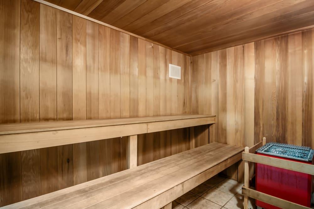 The sauna at Central Park Estates in Novi, Michigan