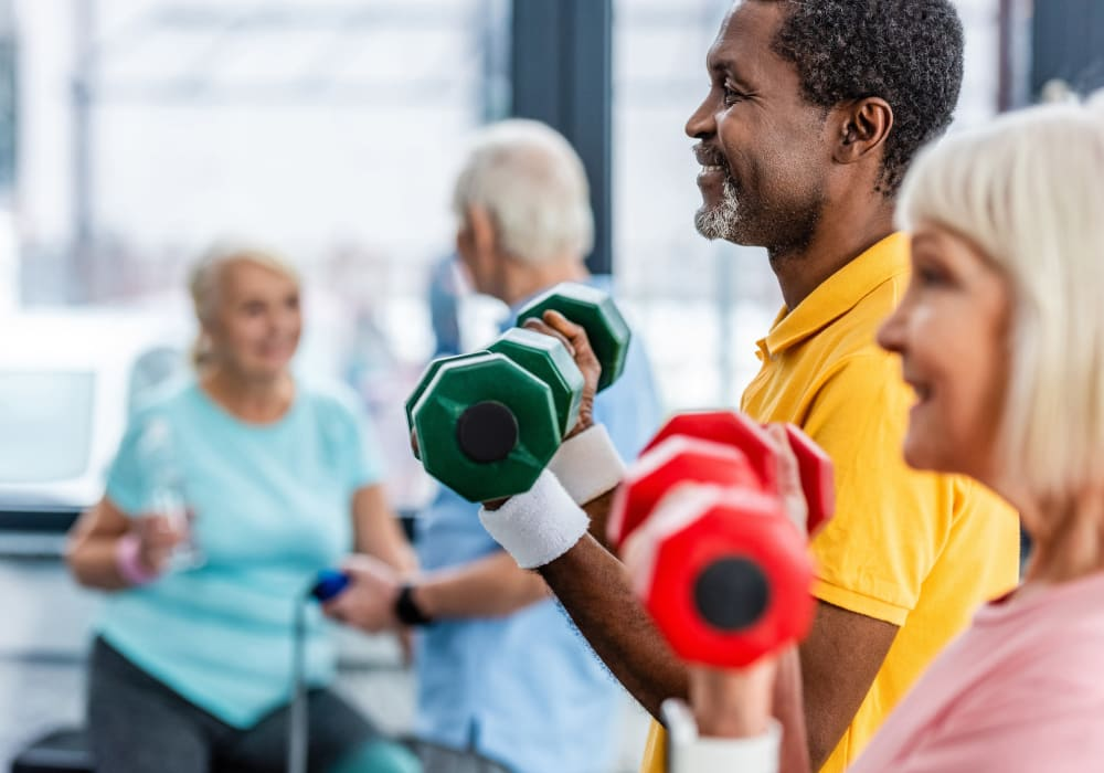 Residents working out at Kingston Bay Senior Living in Fresno, California.