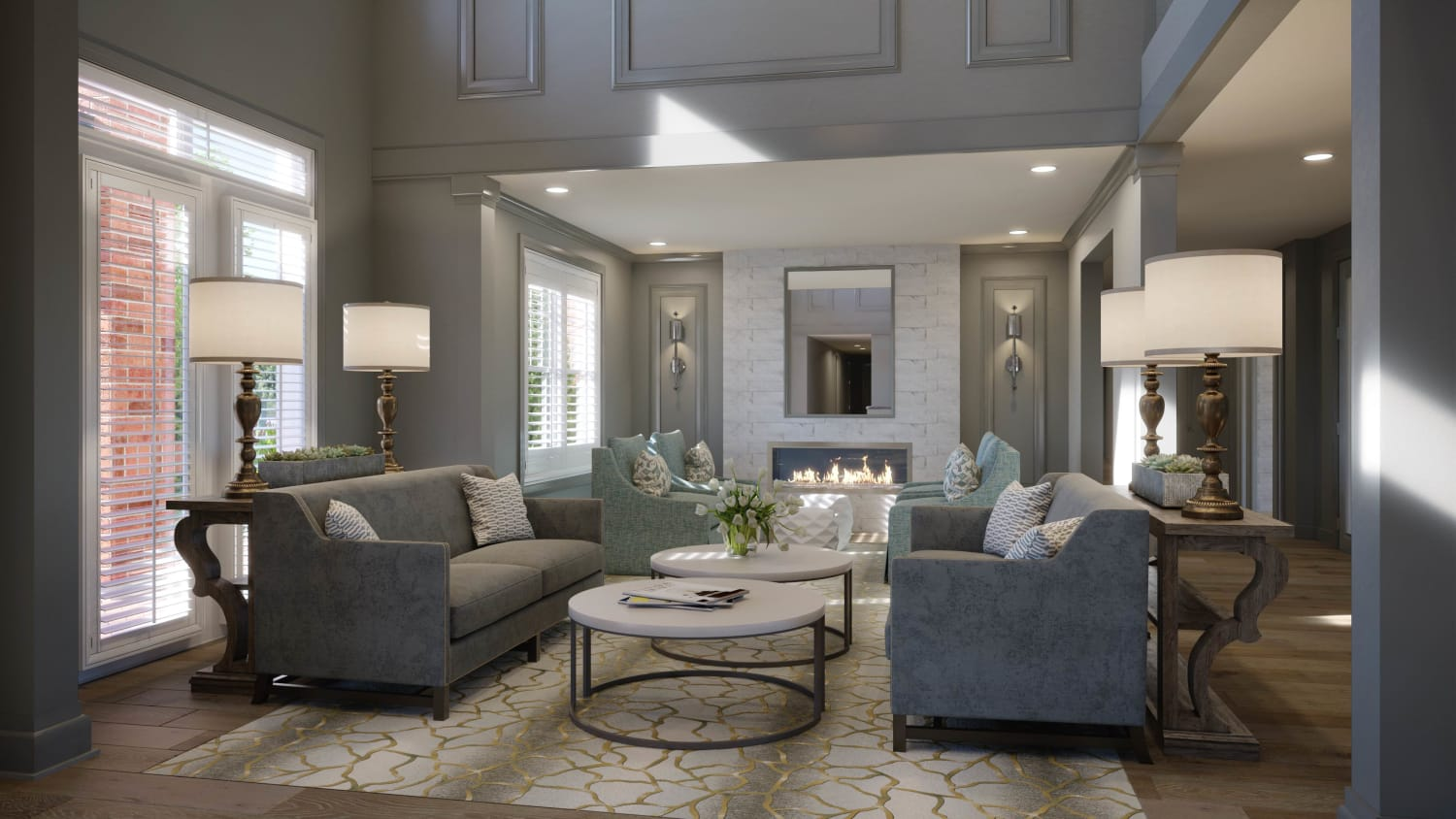 Rendering of Lounge at Avenida Cool Springs senior living apartments in Franklin, Tennessee