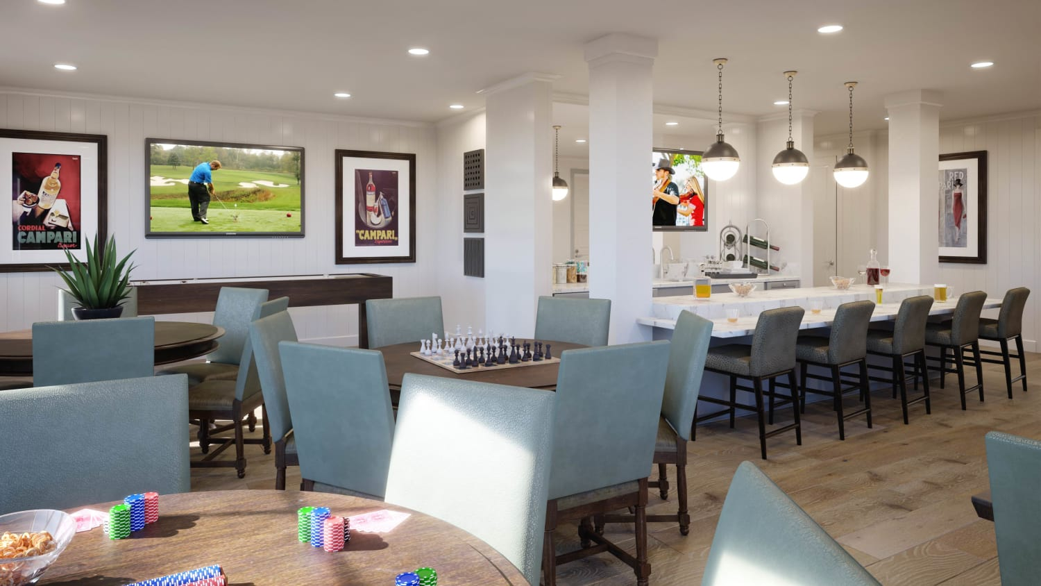 Rendering of Pub at Avenida Cool Springs senior living apartments in Franklin, Tennessee