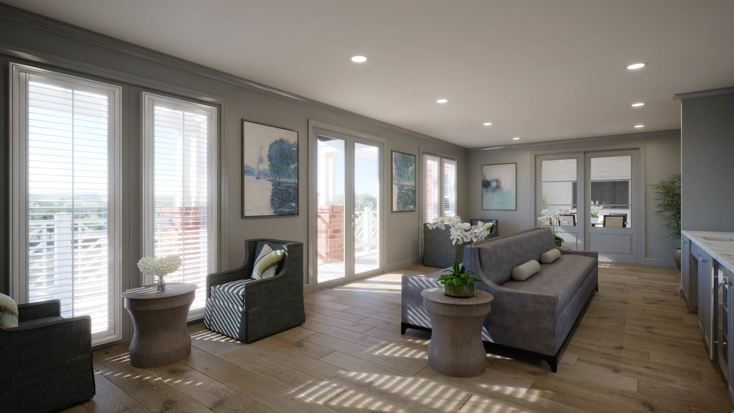 Rendering of Sky Lounge at Avenida Cool Springs senior living apartments in Franklin, Tennessee