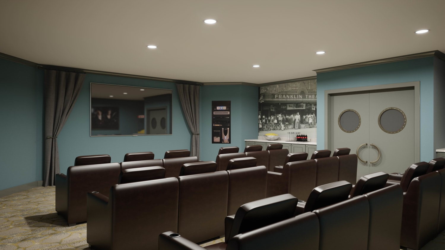Rendering of Theatre at Avenida Cool Springs senior living apartments in Franklin, Tennessee