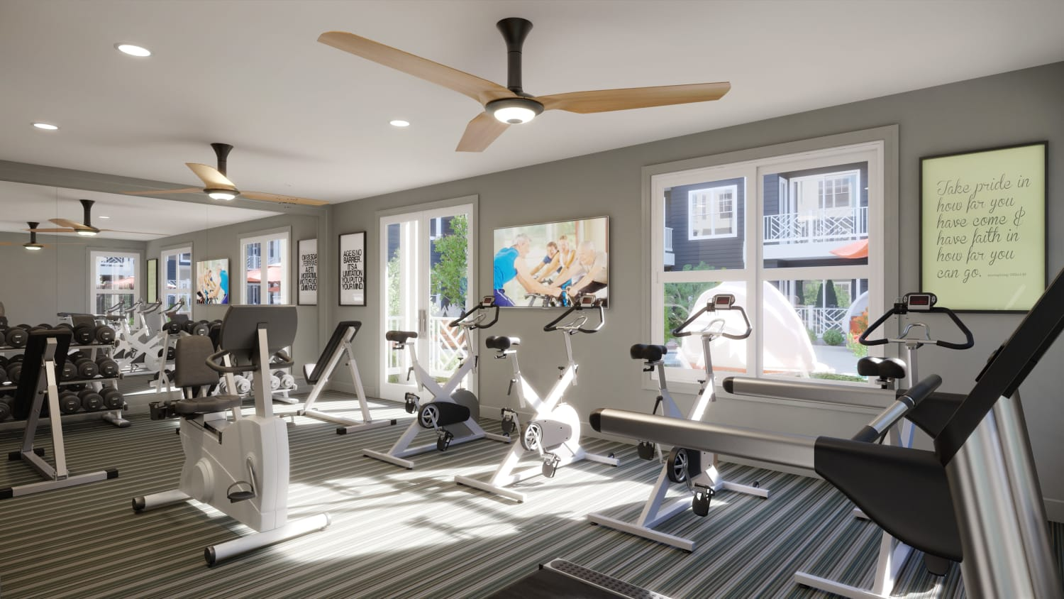 Rendering of Fitness Center at Avenida Cool Springs senior living apartments in Franklin, Tennessee