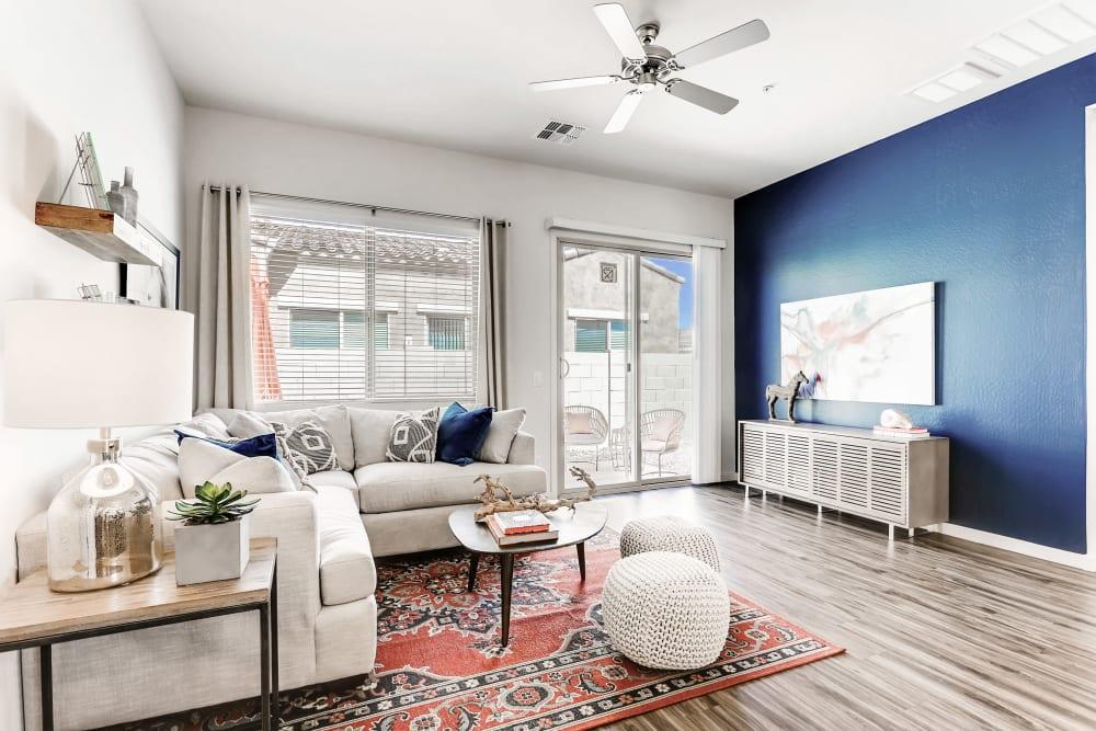 Living room with hard wood floors at Avilla Camelback Ranch in Phoenix AZ