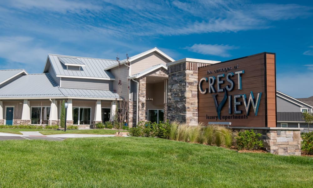 Signage and clubhouse at Cottages at Crestview in Wichita, Kansas