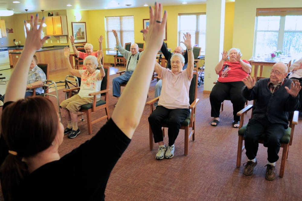 seniors in fitness class at Age Well Centre for Life Enrichment