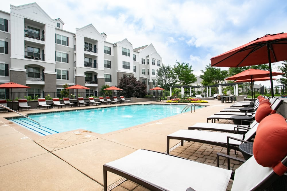 Shaded pool side seating available at Emblem Alpharetta in Alpharetta, Georgia