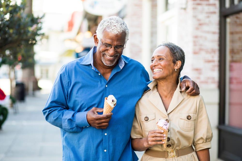 Senior couple enjoying an ice cream in Detroit, Michigan near The Boulevard