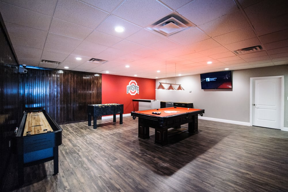 The game room at Fox and Hounds Apartments in Columbus, Ohio