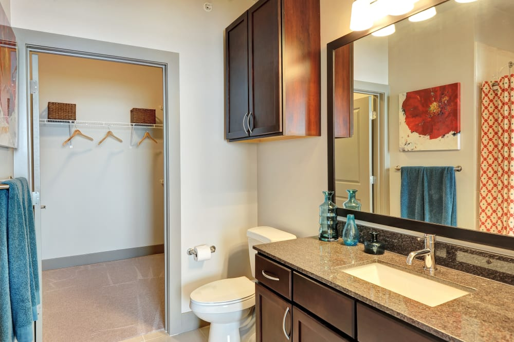 Bright bathroom at The Mark at Brickyard Apartment Homes in Beltsville, Maryland