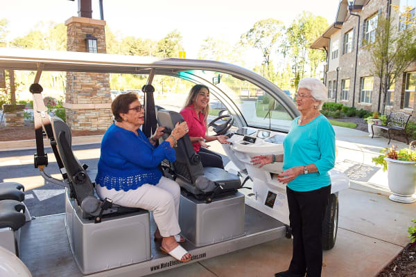 Golf cart offers residents rides around The Crossings at Eastchase in Montgomery, Alabama