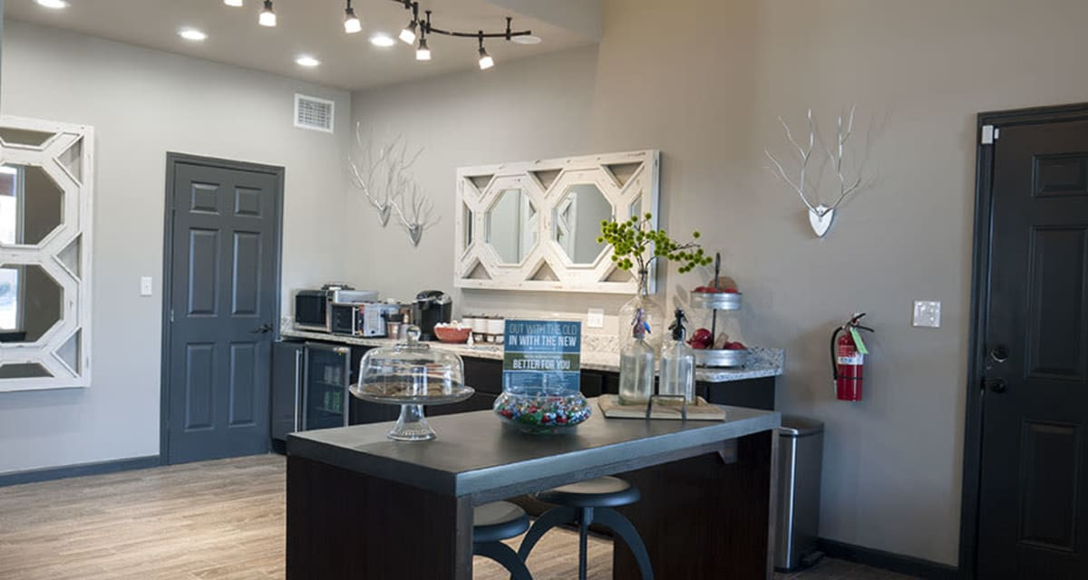 Leasing office at apartments in Carrollton, Texas