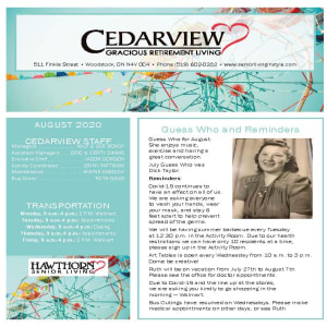 August Cedarview Gracious Retirement Living newsletter