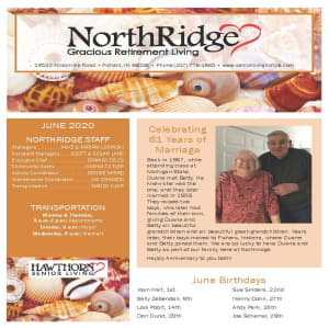 June newsletter at Northridge Gracious Retirement Living in Fishers, Indiana