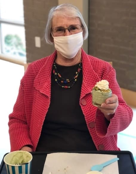 A Ballard resident shows off her pistachio pie in a jar!