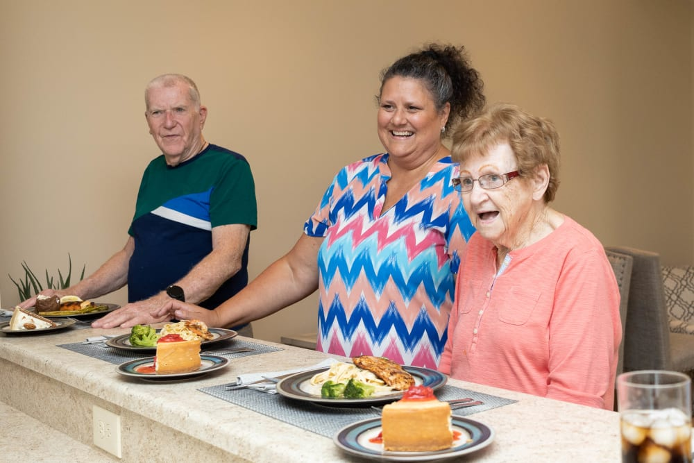 residents eating diner and desert