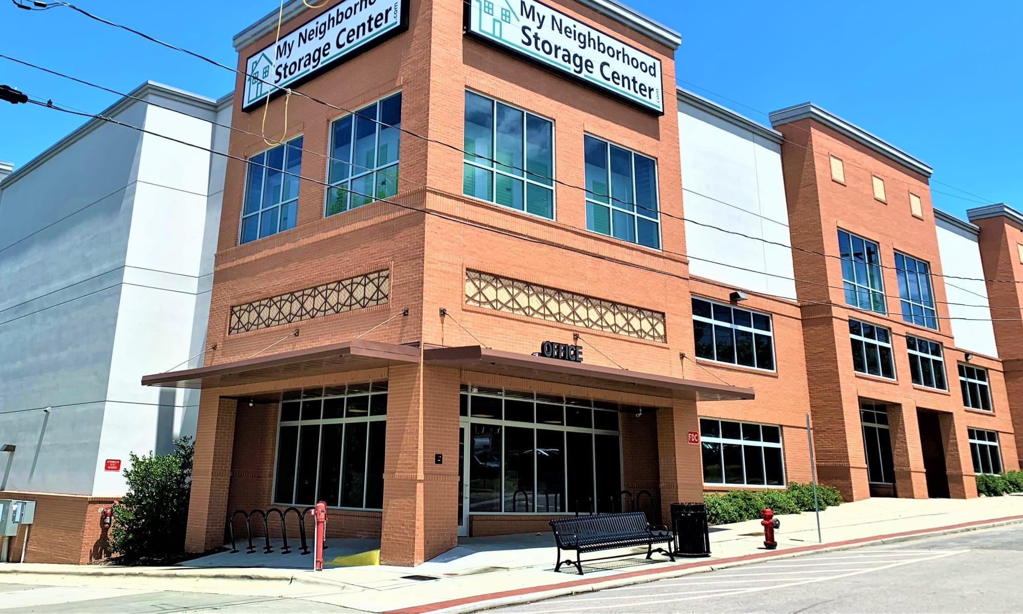 Front entry to My Neighborhood Storage Center in Durham, North Carolina