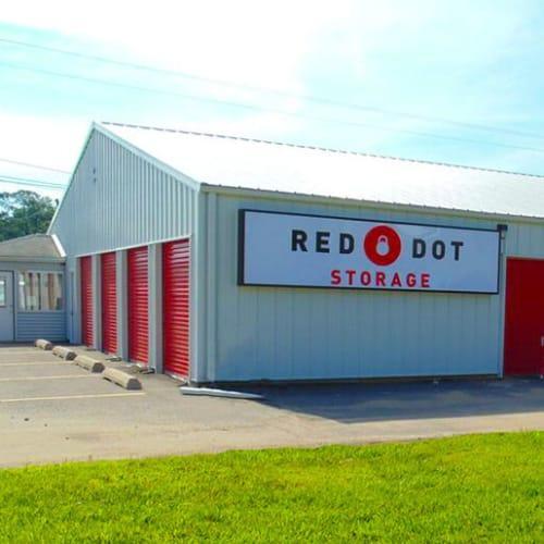 Outdoor storage units at Red Dot Storage in Sherwood, Arkansas