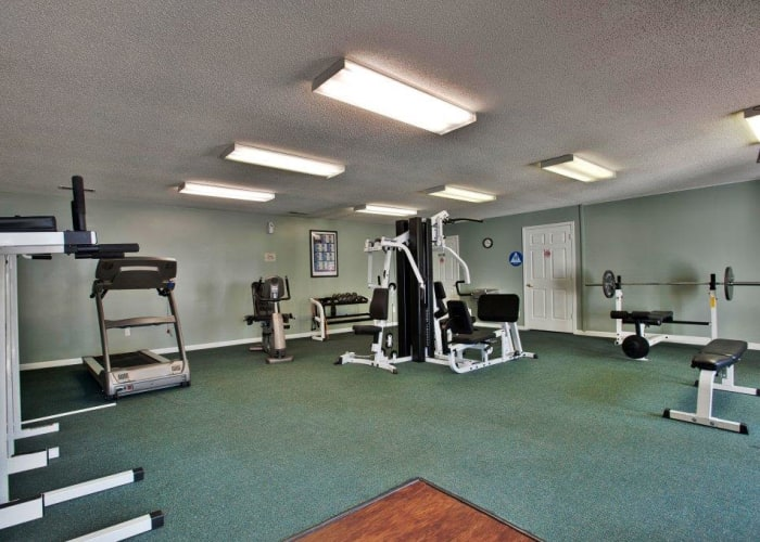 Well-equipped onsite fitness center at Keystone Farms in Nashville, Tennessee