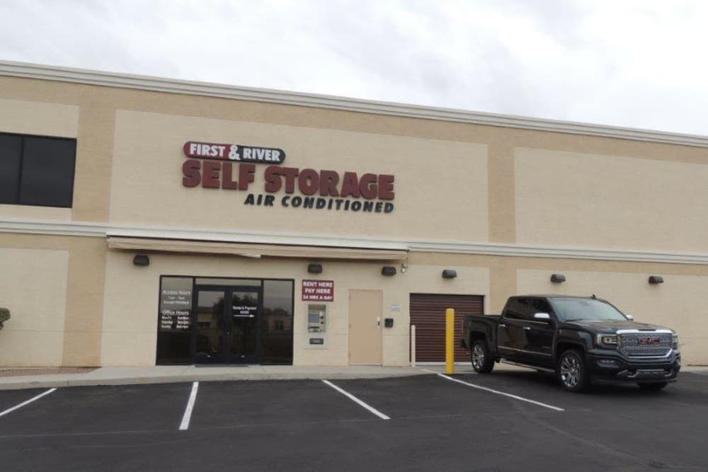 Storage facility office front entrance at First and River Self Storage