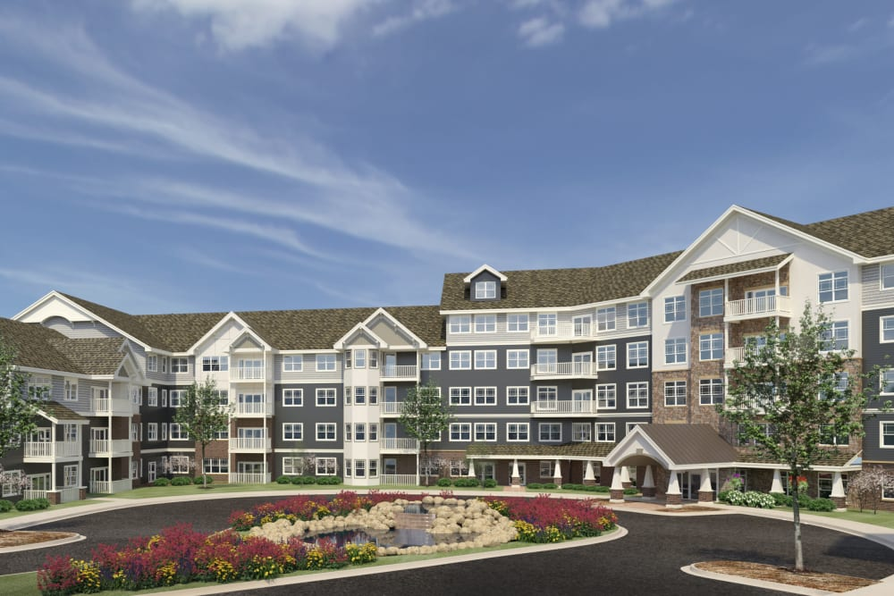 Rendering of main building at Applewood Pointe Eden Prairie in Eden Prairie, Minnesota.