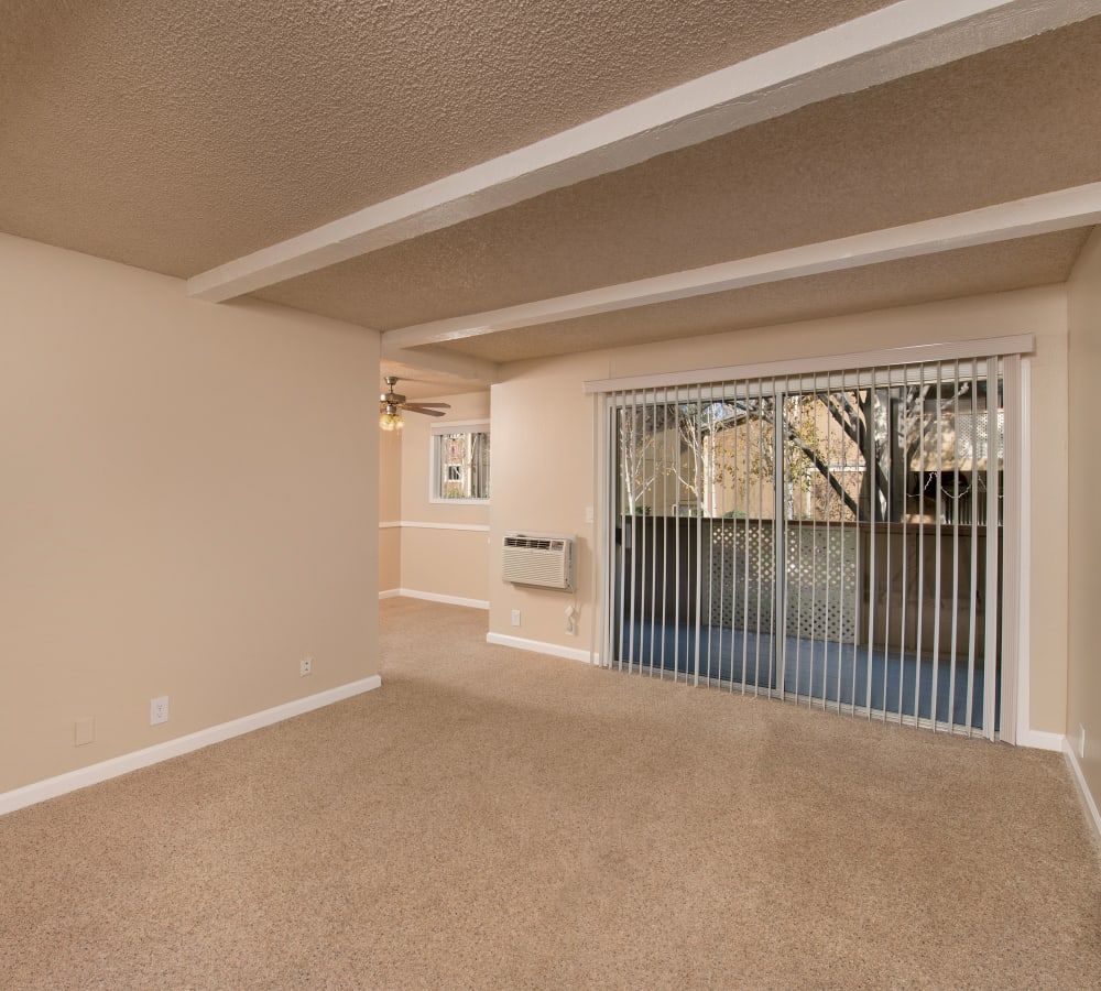 Living room with plush carpeting and patio access at Shadow Oaks Apartment Homes in Cupertino, California