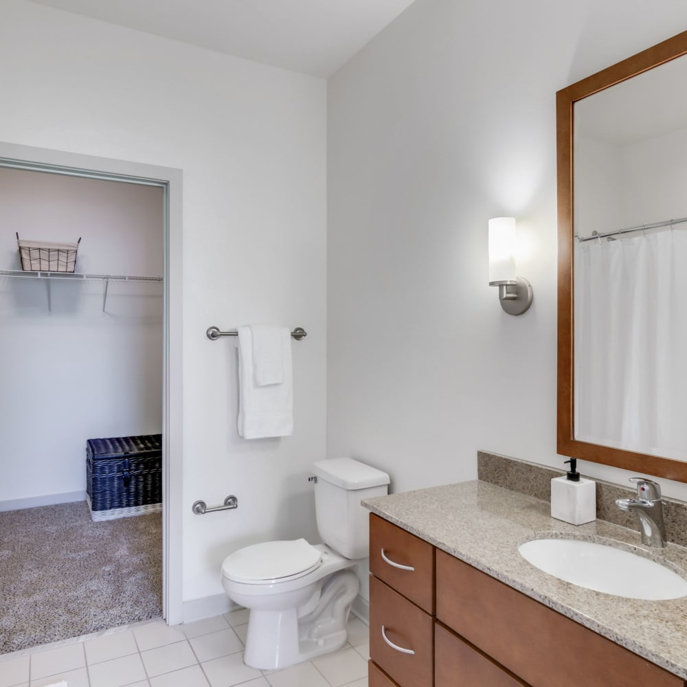 Model bathroom at 12 South Apartments in Nashville, Tennessee