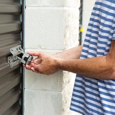 A man accessing his storage unit at Storage Star Domain in Austin, Texas