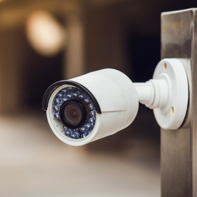 A digital surveillance camera at Firehouse Self Storage in Loveland, Colorado