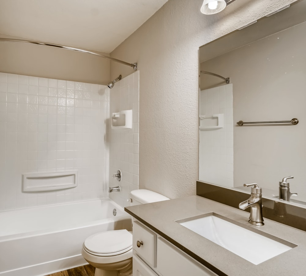 Modern-style bathroom at Slate Ridge at Fisher's Landing Apartment Homes in Vancouver, Washington