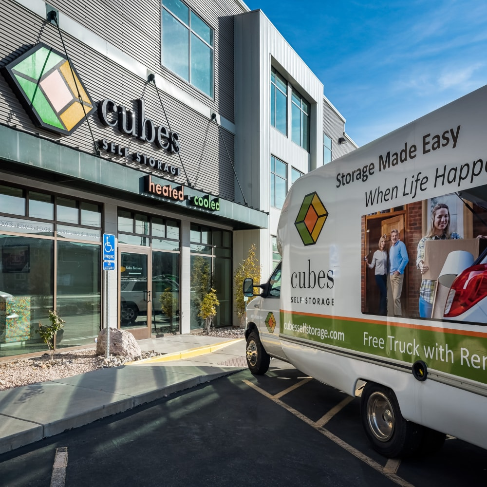 One of our moving trucks at Cubes Self Storage in Kirkland, Washington