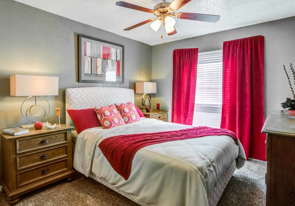 Beautiful master bedroom at Sausalito Apartments in College Station, Texas