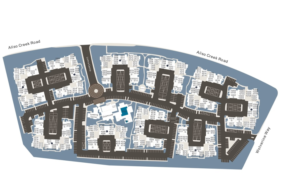 Community site map for Alicante Apartment Homes in Aliso Viejo, California