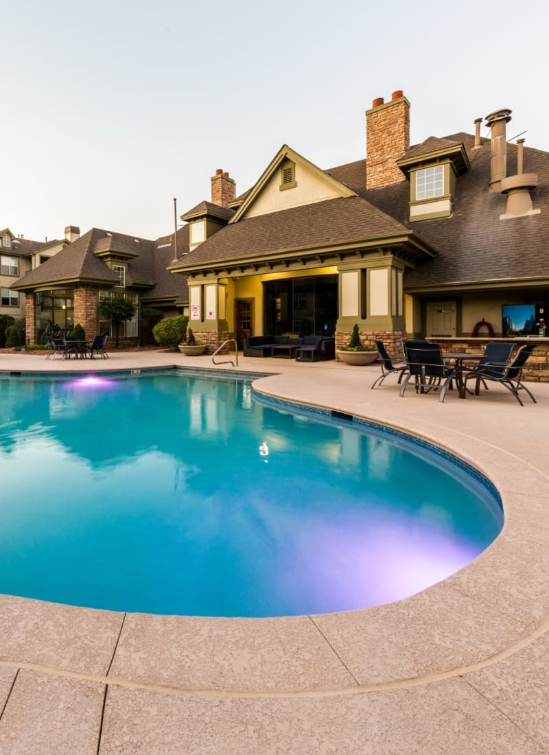 Beautiful pool and clubhouse at Marquis at Town Centre in Broomfield, Colorado