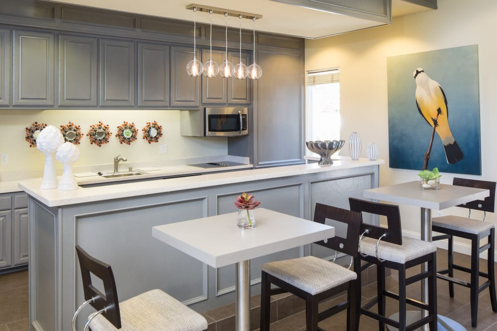 A gathering kitchen in the clubhouse of Alicante Apartment Homes in Aliso Viejo, California