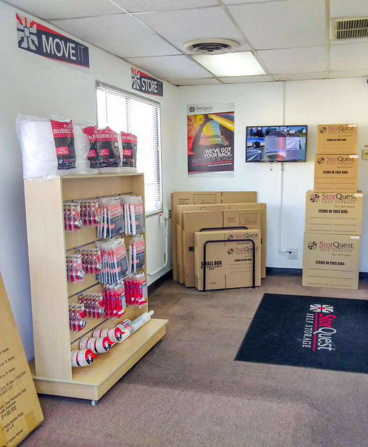 Boxes and moving supplies available at StorQuest Self Storage in Lakewood, California
