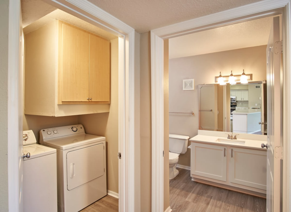 An in-home washer and dryer in model apartment home of Calais Park Apartments in St Petersburg, Florida