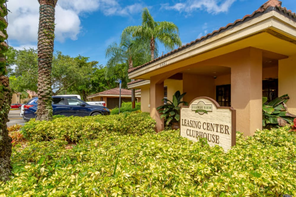 Entrance of the Leasing Office at Fairway View Apartments in Hialeah, FL