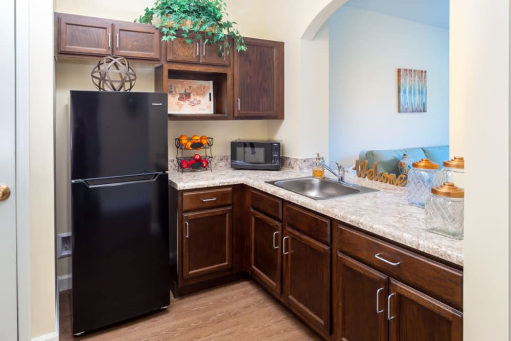 Kitchen in apartment at The Harmony Collection at Roanoke - Assisted Living in Roanoke, Virginia