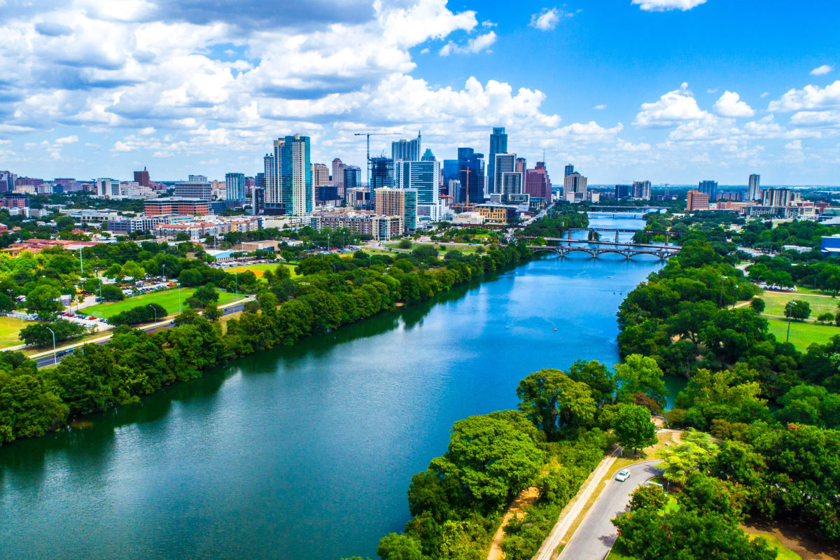 Aerial view of Austin, Texas from The Marquis at Brushy Creek