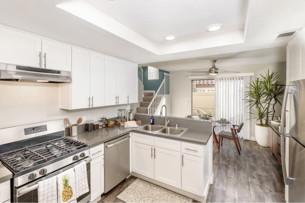 A Luxury apartment kitchen at Sonora at Alta Loma in Alta Loma, California