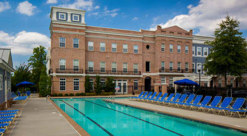 Gorgeous swimming pool at Worthington Luxury Apartments in Charlotte, North Carolina