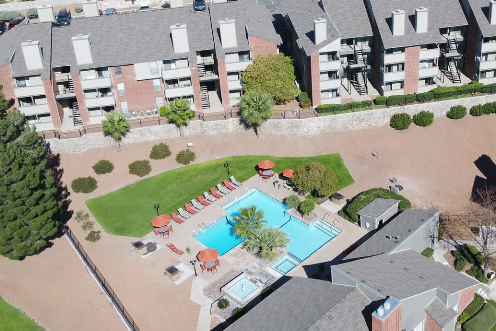 Aerial view of High Ridge Apartments in El Paso, Texas